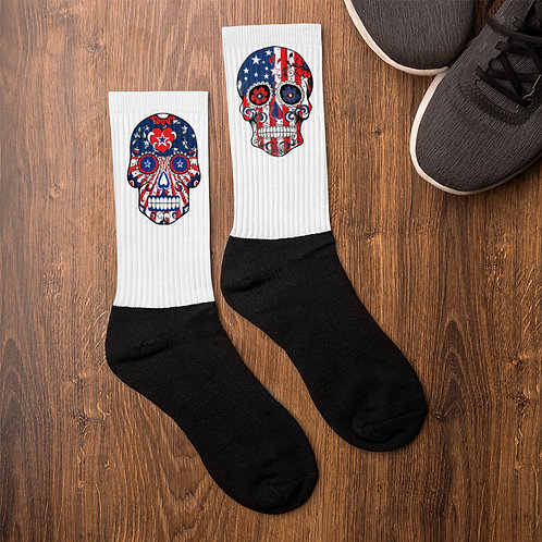 American Flag Sugar Skull Socks