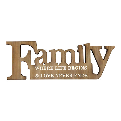 """17"""" X 1"""" X 6"""" Natural Wood Family Sign"""