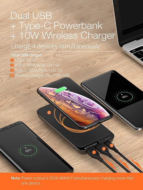 10000mAh QC3.0 PD18W Power Bank 10W Wireless Charger with 4 Outputs