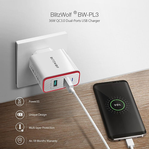 36W USB Quick Charger EU Plug Dual Ports Adapter Wall Charger for