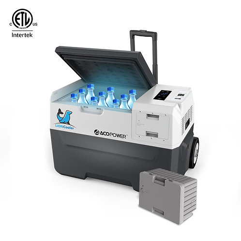 Cooler X30A Combo, 32 Quarts Solar Freezer & Extra 173W Battery (2 Batteries)