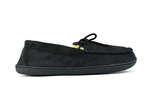 Men's Bow Faux Fur Lined Slippers Black
