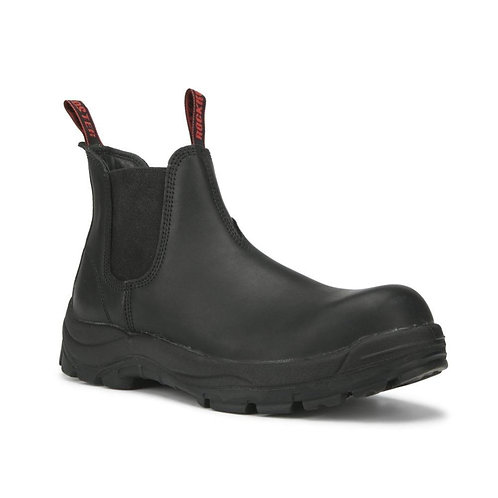 Black 6 inch Safety Toe Slip Resistant Leather Work Boots