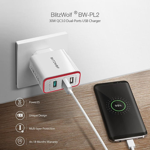 30W QC3.0 FCP 3 Ports Universal USB Charger Travel Wall Charger EU