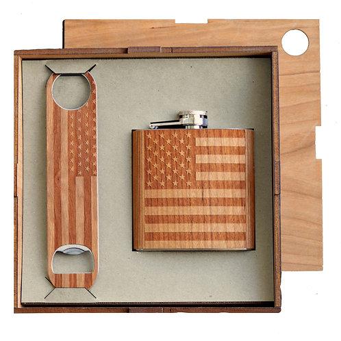 Mini Bar Kit. American Flag Opener and Flask