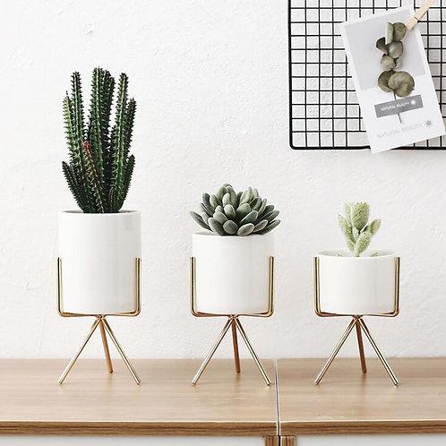 Nordic Style Ceramic Flower Pot Planter Iron Frame Plant