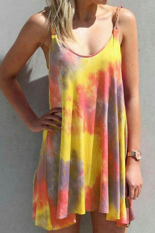 Yellow U Neck Tie Dye Sling Sleeveless Swing Summer Dress