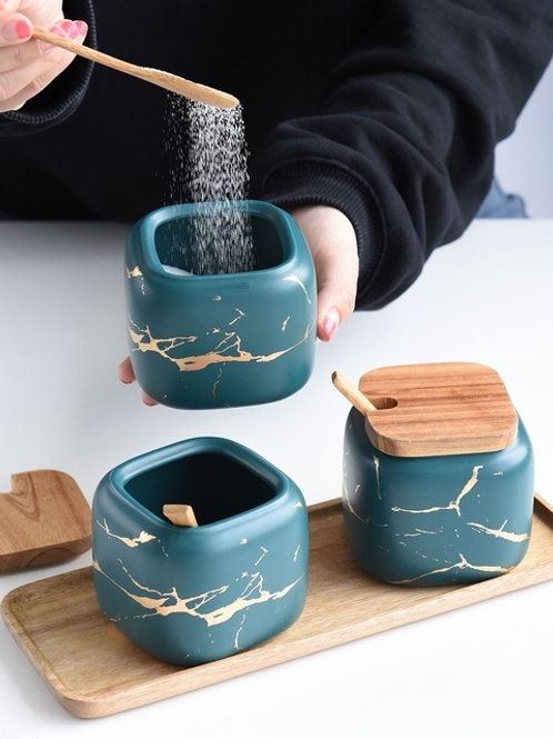 Marble Pattern Ceramic Spice Jars