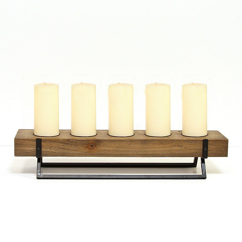 5-Candle Metal & Wood Holder Centerpiece