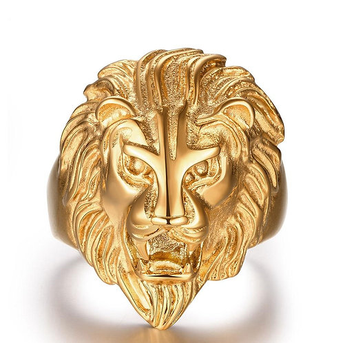 Stainless Steel Goldstone Lion Head Men's Ring