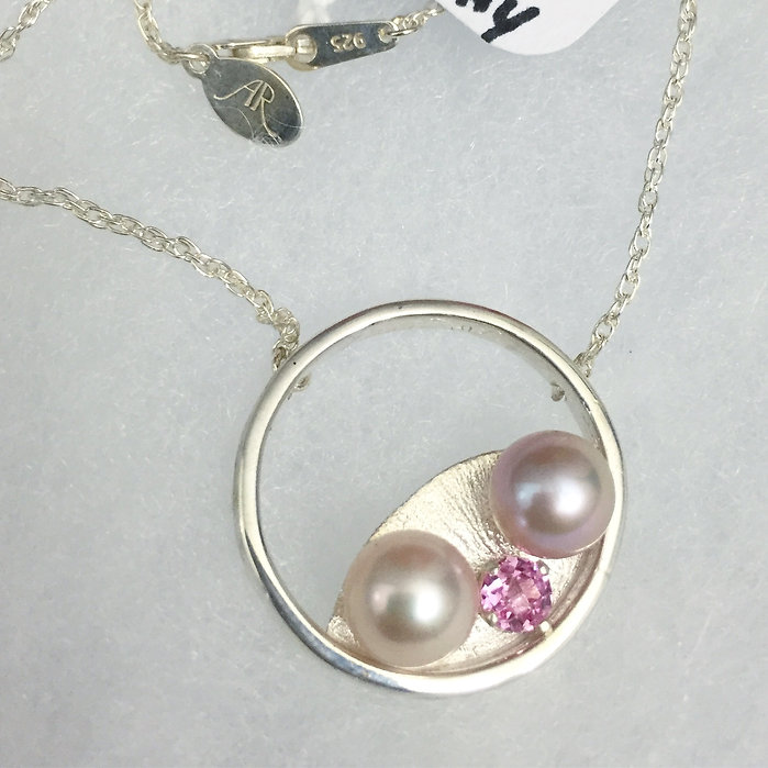 Alysia roberts jewelry custom handmade necklace pearl pink sapphire