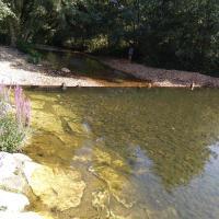 Río de San Justo. Río Tuerto y playa fluvial y su presa