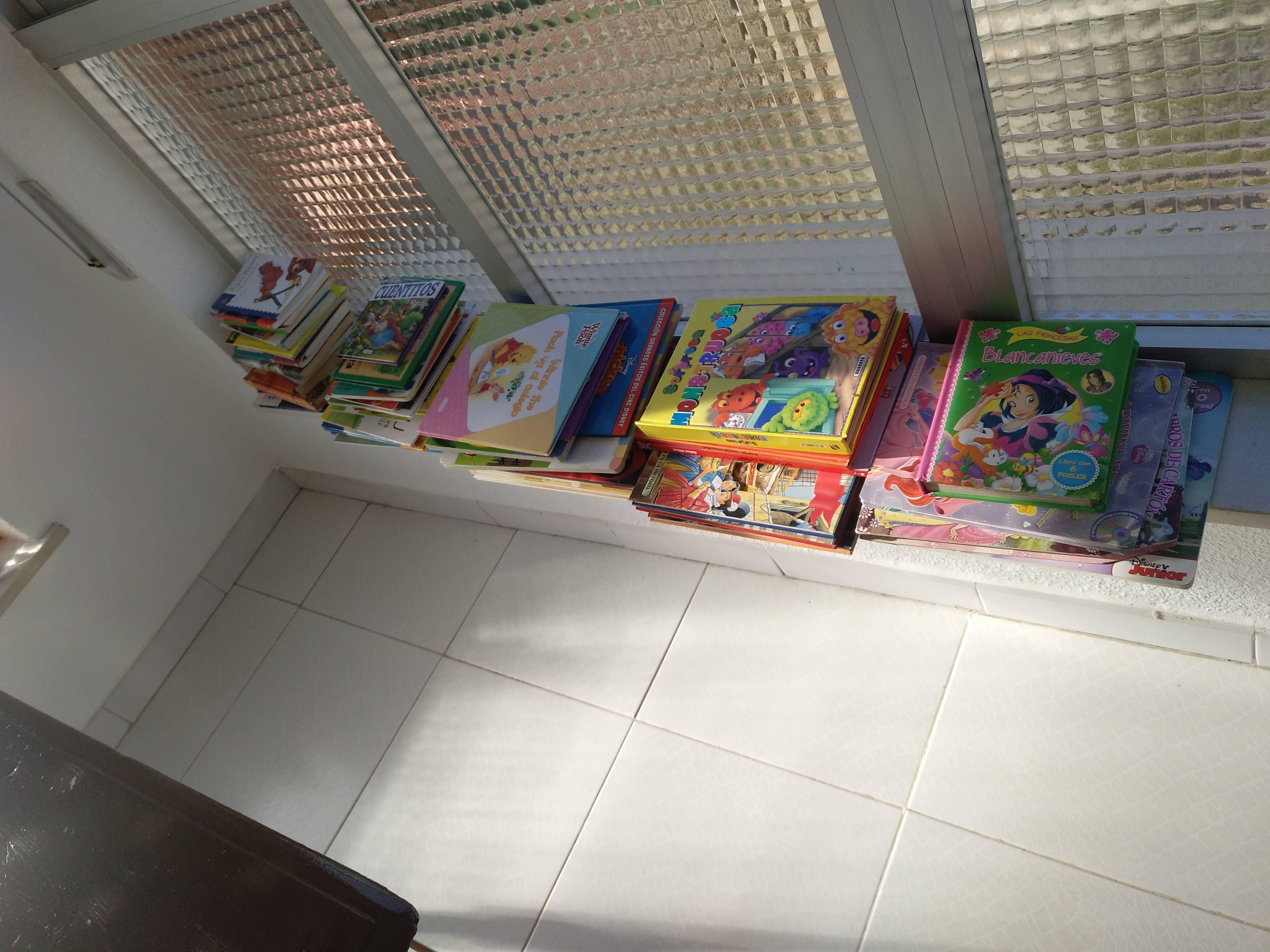 Libros, cuentos y material de pintura.