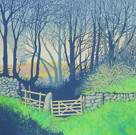 Into the Holloway  Sally O'Neill Art Painting Acylic Devon Dartmoor