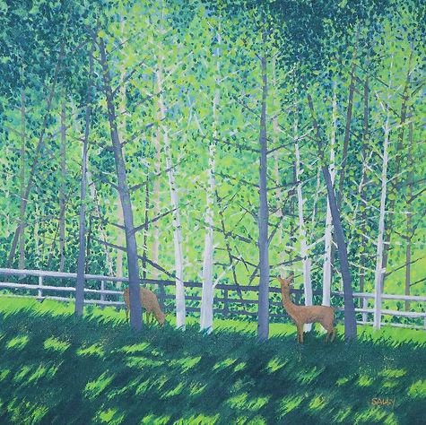 Deer in the Field  Sally O'Neill Art Painting Acylic Devon Dartmoor