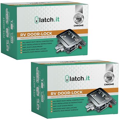 2 Keyed Alike RV Mechanical Door Locks - Chrome