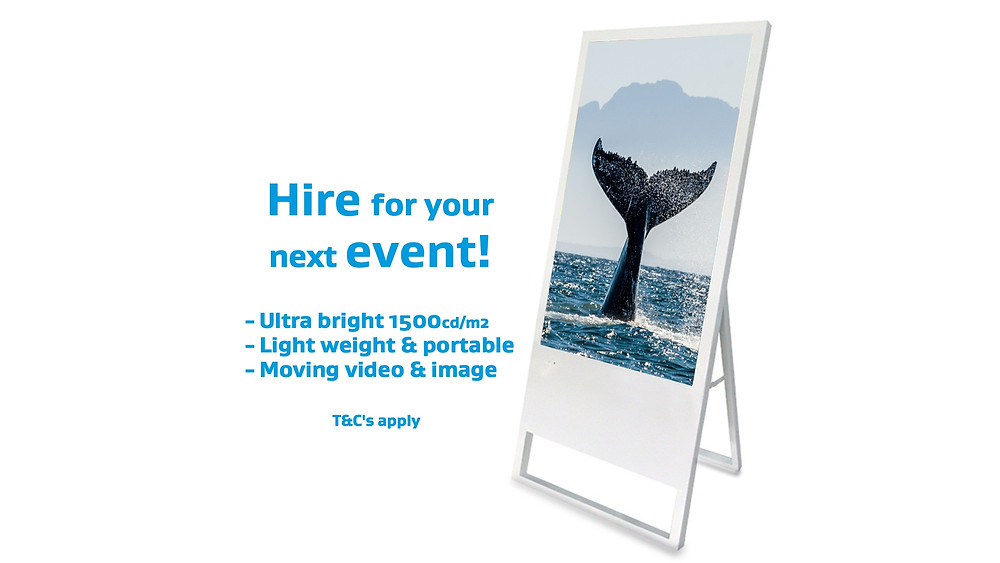 Digital sandwich board, digital signage for retail, exhibitions, conferences & events companies.