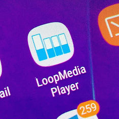 Android app, Loop Media Player Icon on phone screen
