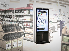 free standing digital billboard in supermarket, 55'' installed with LoopMedia Player app.