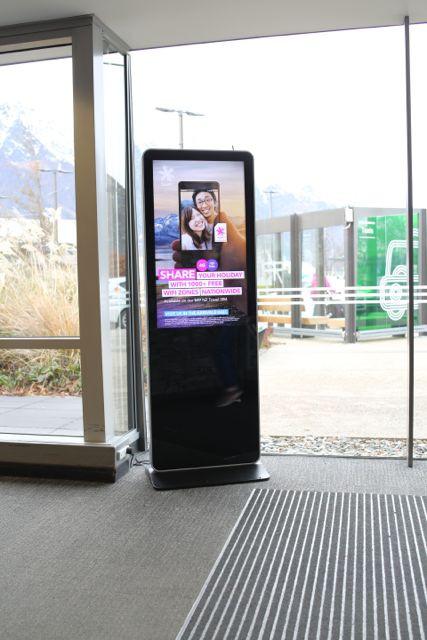 Free standing digital billboard at Queenstown Airport. Supplied by Loop Media