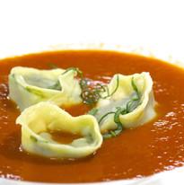 Roasted Tomato Soup with ricotta & basil Tortellini