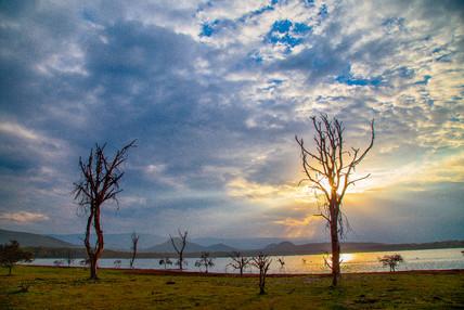 Sunset on the lakeshore