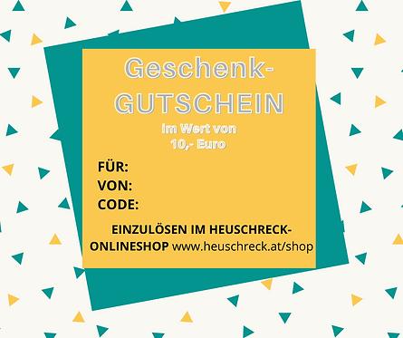 GESCHENKGUTSCHEIN FÜR DEN HEUSCHRECK-ONLINESHOP € 10,-