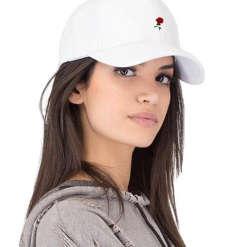 """""""Single Rose"""" - unisex strap back hat (white)"""