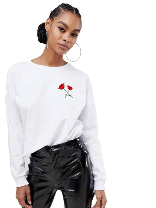 """Crossed Roses"" - womens long sleeve shirt"
