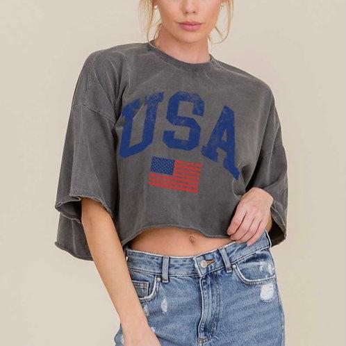 American Girl Tee in Charcoal