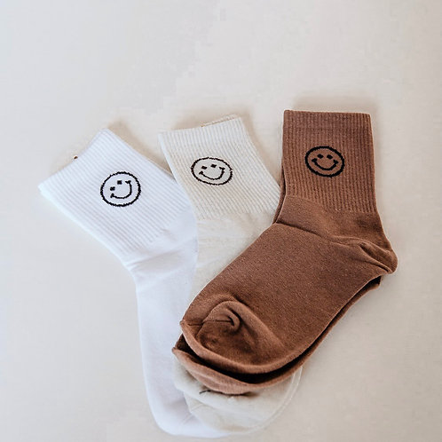 Keep Smiling Socks in Taupe