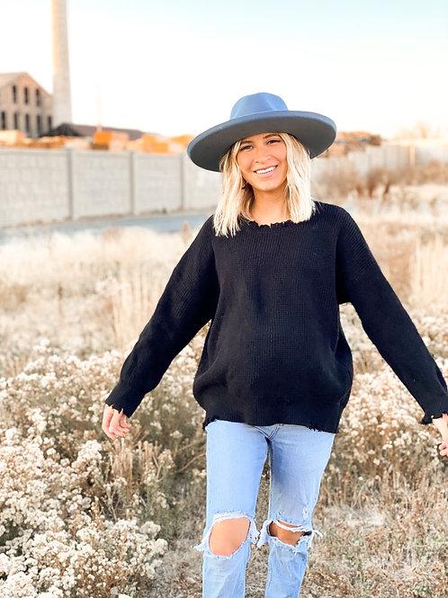 Dakota Distressed Sweater in Black