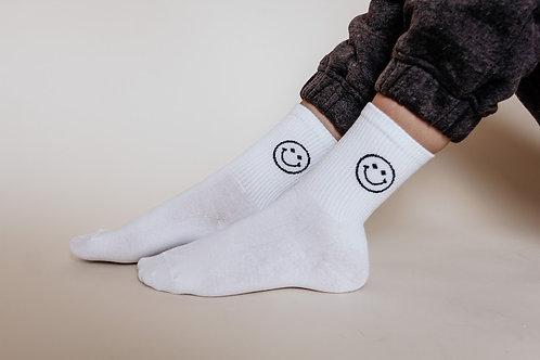 Keep Smiling Socks in White