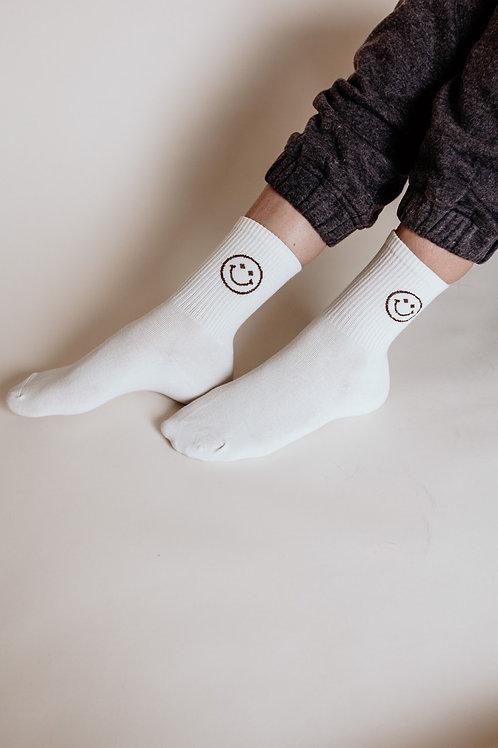 Keep Smiling Socks in Cream