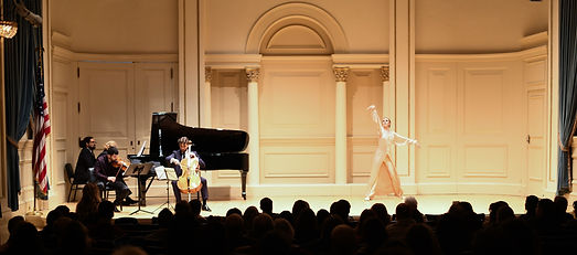 Paul Stanhope Trio Dolcisimo Uscignolo - Gabrielle Armenier, eurythmy Brigitte Armenier, piano Georgy Gusev, cello Azer Damirov, violin, performed at Will Rectal Hall at Carnegie Hall in February 2018