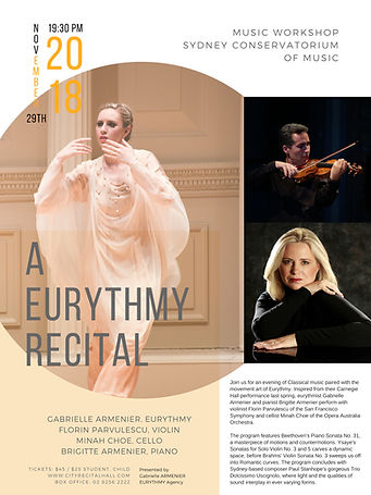 A Eurythmy Recital - Gabrielle Armenier,eurythmy Florin Parvulescu, violin Brigitte Armenier, piano Beethoven Piano Sonata No. 31 Opus 110 - Cesar Franck Violin Sonata - Paul Stanhope Dolcissimo Uscignolo - Lincoln Center for the Performing Arts Napa Valley Eurythmy Eurythmie stage arts Costumes Veils Silk Classical Music Art of Movement