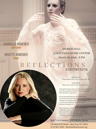 REFLECTIONS A Eurythmy Recital - Gabrielle Armenier, eurythmy Brigitte Armenier, piano - Beethoven Piano Sonata No. 31 Op. 110 - Franz Schubert Piano Sonata in G Major D. 894 - Merkin Hall New York City Eurythmy Eurythmie Art of Movement stage arts Costumes Veils Silk