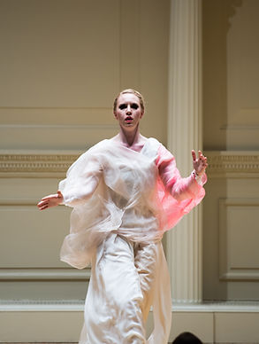 Eurythmy Recital - Gabrielle Armenier, eurythmy Lee-Chin Siow, violin Svetlana Smolina, piano He Zhanhao Chen Gang Butterfly Lovers Violin Concerto Weill Recital Hall at Carnegie Hall New York City Eurythmy Eurythmie Art of Movement stage arts Costumes Veils Silk