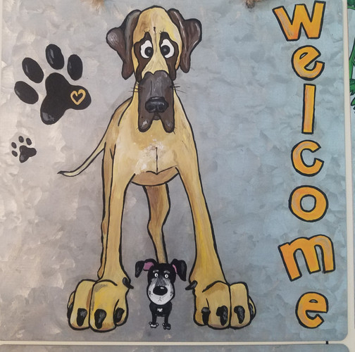 Welcome sign dog mural