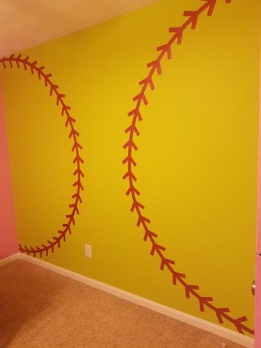 softball mural wall