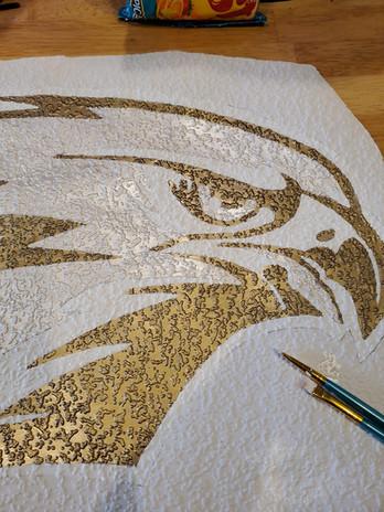3d logo mural  on textured wallpaper