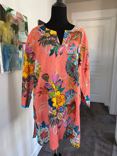 Salmon Floral Tunic (soft and light weight)