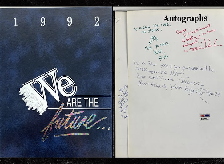 Kobe Bryant Autograph in Yearbook