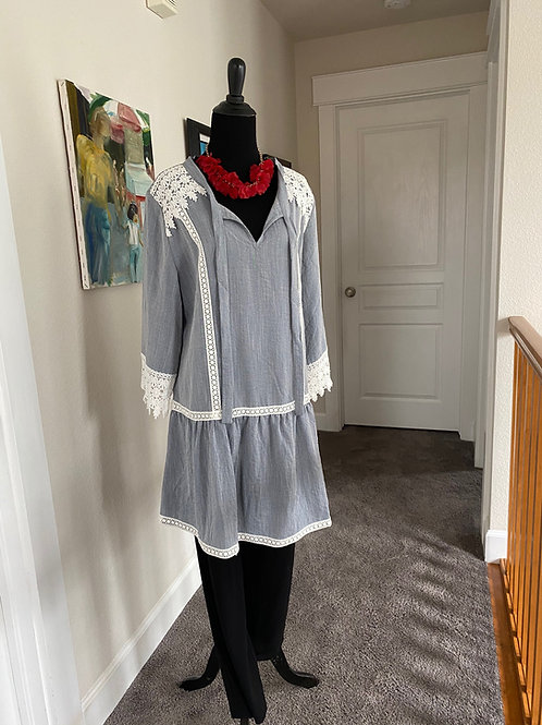 Heather Gray Embroidered Tunic