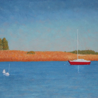 """Lone Red Sailboat"""