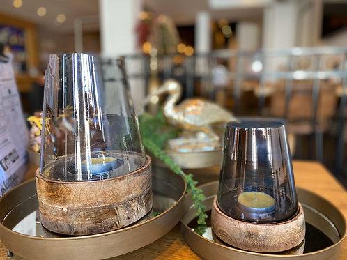 Lantaarn van glas met houten onderkant groot