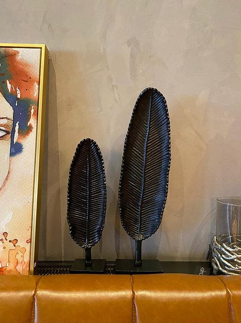Decoratief blad van zwart ijzer groot