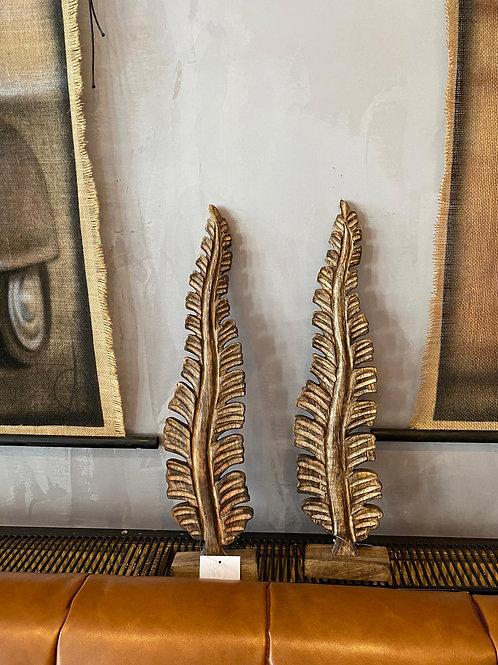 Houten decoratie veren