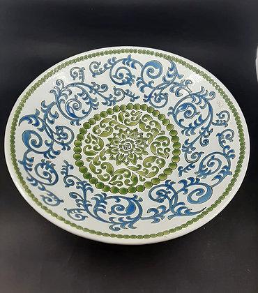Centro de Mesa Porcelana - Arabesco Verde/Azul