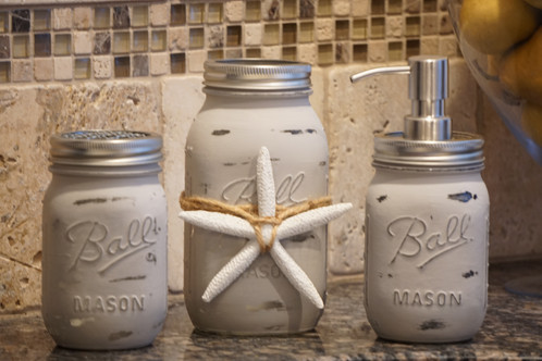 Rustic Three Piece Bathroom Accessory Set - Light Grey | Coastal ...